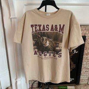 Texas A&M Football Fish T-shirt Large EUC